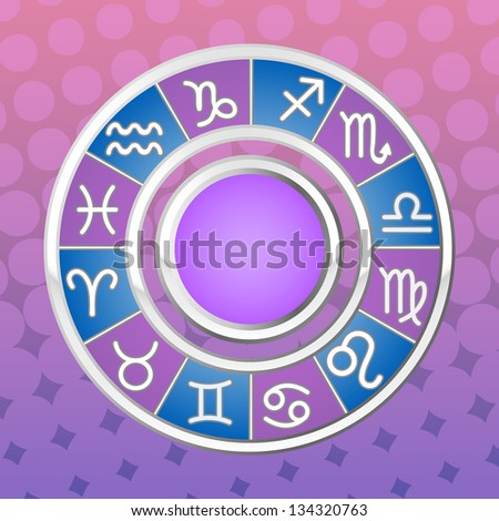 Astrology circle. All signs of the zodiac. Raster version, vector file also included in the portfolio. - stock photo