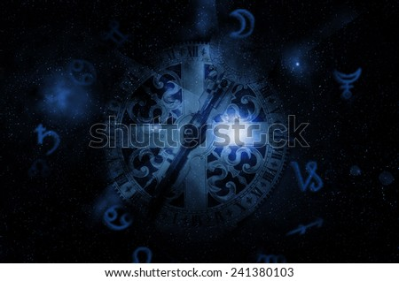 astrology clock - stock photo