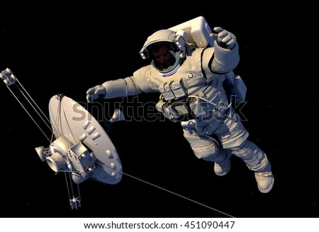 Astronaut and antenna in space.,3d render - stock photo