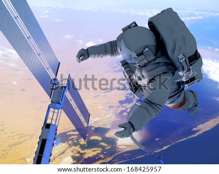 """Astronaut and space station in Earth lanshafty background. """"Elements of this image furnished by NASA"""" - stock photo"""