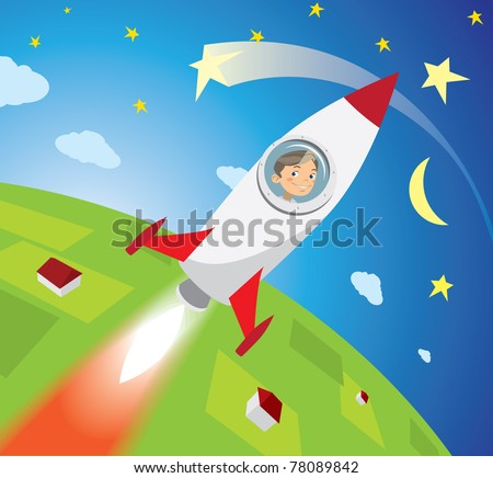 astronaut boy looks out the window missiles, smiling, flying into space - stock photo