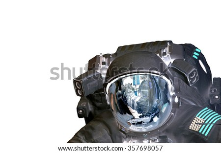 Astronaut et alien extraterrestrial helmet isolated on white spaceman space suit. Elements of this image furnished by NASA. - stock photo