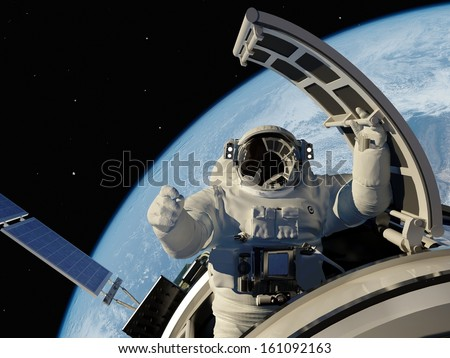 "Astronaut goes through the hatch into space.""Elements of this image furnished by NASA"" - stock photo"