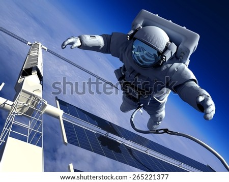 Astronaut in space around the solar battarei. - stock photo