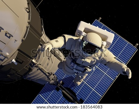 "Astronaut in space around the solar battarei.""Elemen ts of this image furnished by NASA"" - stock photo"