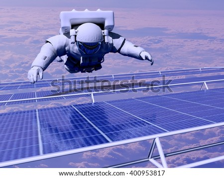 "Astronaut in space around the solar battarei.""Elemen ts of this image furnished by NASA"",3d render - stock photo"