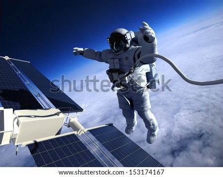 "Astronaut in space around the solar battery. ""Elements of this image furnished by NASA"" - stock photo"