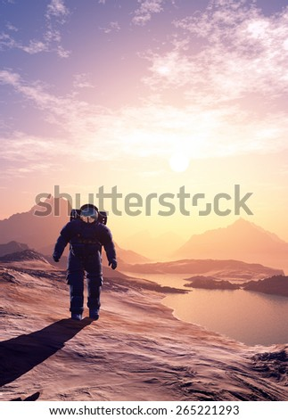 Astronaut moves around the planet - stock photo