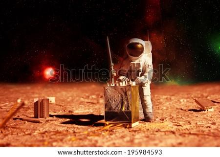 astronaut on mars - stock photo
