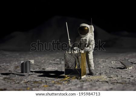 astronaut on moon - stock photo