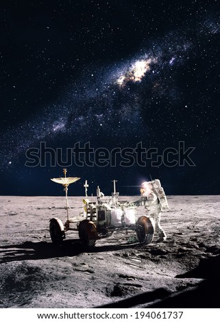 Astronaut on the moon. Elements of this image furnished by NASA - stock photo