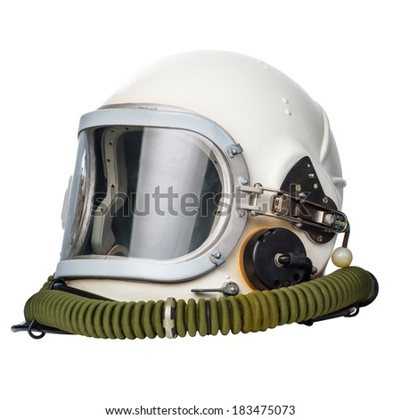 Astronaut/pilot helmet isolated on a white background.  - stock photo