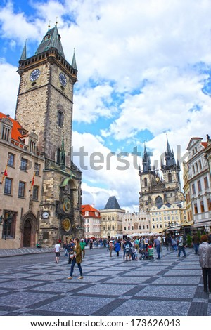 Astronomical Clock at morning in old town Prague, Czech Republic - stock photo
