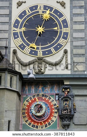 Astronomical clock on the medieval Zytglogge (Clock Tower). Bern, Switzerland, Europe - stock photo