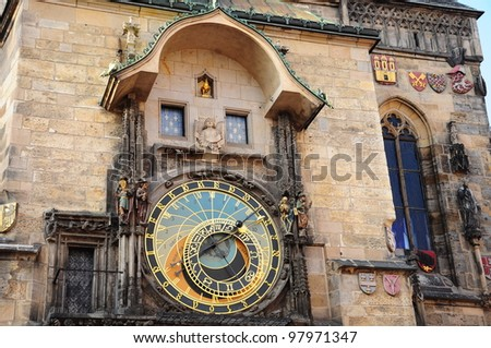 astronomical clock tower in the old town of Prague, Czech Republic - stock photo