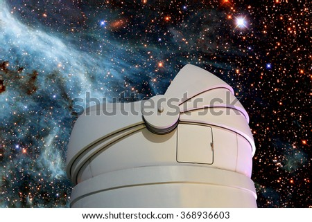 Astronomical Observatory under the stars.Elements of this image furnished by NASA. - stock photo