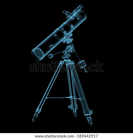 Astronomical telescope x-ray blue transparent isolated on black - stock photo