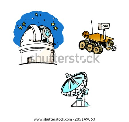 Astronomy. An observatory, a radio telescope and a rover in a cartoon style. - stock photo