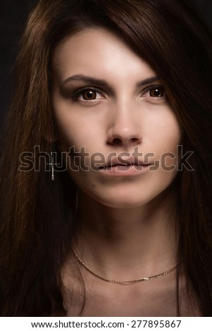 Asylum. Portrait of crazy woman. Low key. - stock photo