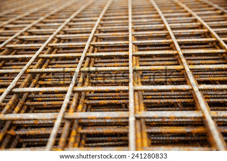 at a construction site are steel mesh to reinforce the bentonplatten - stock photo