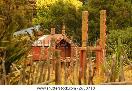 at ancient Maori village - Pa (raised storage house) - stock photo