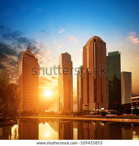 At dusk, the skyscrapers of Shanghai Pudong Lujiazui. - stock photo