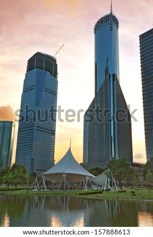 At dusk, the skyscrapers of Shanghai Pudong Lujiazui - stock photo