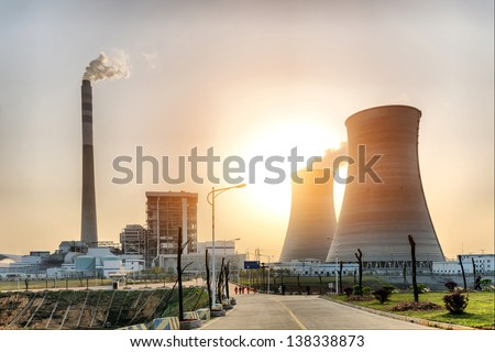 At dusk, the thermal power plants - stock photo