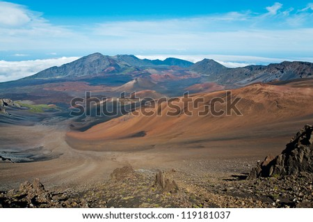 At Haleakala crater in Haleakala National Park, Hawaii - stock photo