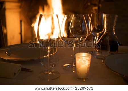 at restaurant with warm ambiance - stock photo