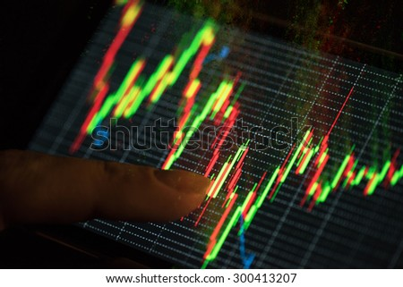 At screen phone finance statistic - stock photo