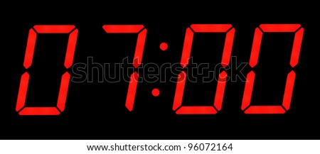 At seven o'clock  in the morning. Isolated on a black background - stock photo