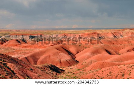 At sunset, Painted Desert National Park in Arizona. - stock photo