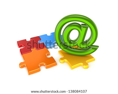AT symbol and colorful puzzles.Isolated on white background. - stock photo