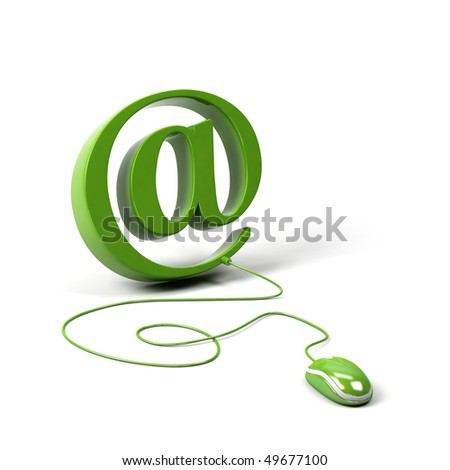 AT symbol connected to a computer mouse. 3d image. - stock photo