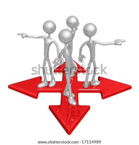 At The Crossroads Pointing Different Directions - stock photo