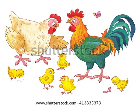 At the farm. Cute hen, rooster and their chicks. Illustration for children. Coloring book. Coloring pages. Funny cartoon characters.  - stock photo