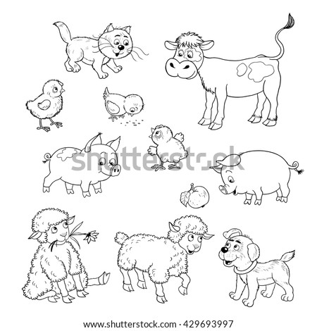 At the farm. Set of cute baby animals. Calf, kitten,chicks, pigs, sheep and puppy. Seamless pattern. Illustration for children. Coloring page. Funny cartoon characters isolated on white. - stock photo