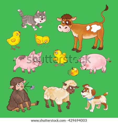 At the farm. Set of cute baby animals. Calf, kitten,chicks, pigs, sheep and puppy. Seamless pattern. Illustration for children. Coloring page. Funny cartoon characters.  - stock photo