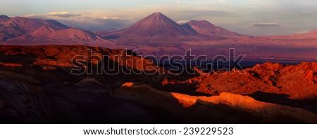 Atacama desert at sunset, Valle de la Luna, Chile - stock photo