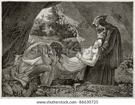 Atala burial old illustration, Created by Girardet after picture of Girodet kept in Louvre museum. Published on Magasin Pittoresque, Paris, 1843 - stock photo