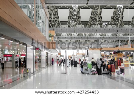 Ataturk airport , Istanbul,Turkey , April 19,2016, people waiting in line to make check-in for their flight and drop-off their luggage. - stock photo
