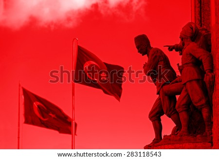 Ataturk and flags - stock photo