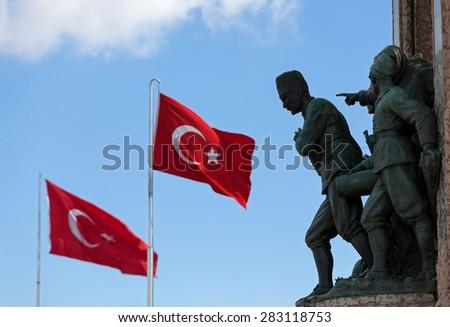 Ataturk and Turkish flags - stock photo