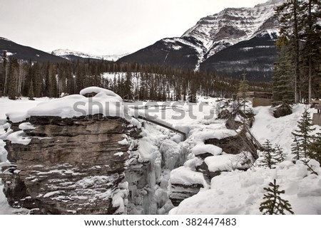 Athabasca Falls in Winter Jasper Alberta Canada - stock photo