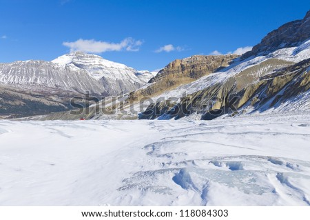 Athabasca Glacier at Columbia Icefield, Japser National Park, Alberta, Canada - stock photo