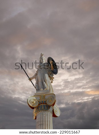 Athena statue, the goddess of wisdom and philosophy under cloudy sky - stock photo