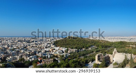 Athens city greece old center panorama view - stock photo