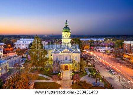 Athens, Georgia, USA downtown cityscape at city hall. - stock photo