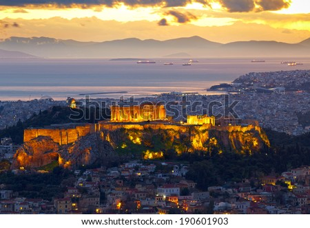 Athens, Greece. After sunset. Parthenon and Herodium construction in Acropolis Hill - stock photo